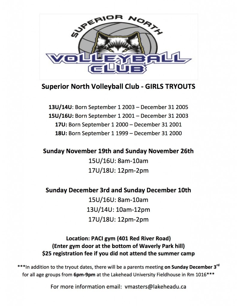 Superior North Volleyball Club tryouts 2017-18