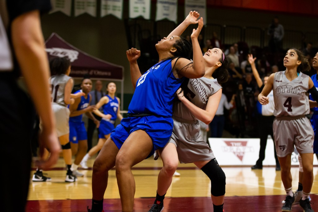 during their semi-final playoff game vs. Lakehead at uOttawa,Ottawa,ON, on Feb. 27, 2019. Photo: Greg Mason