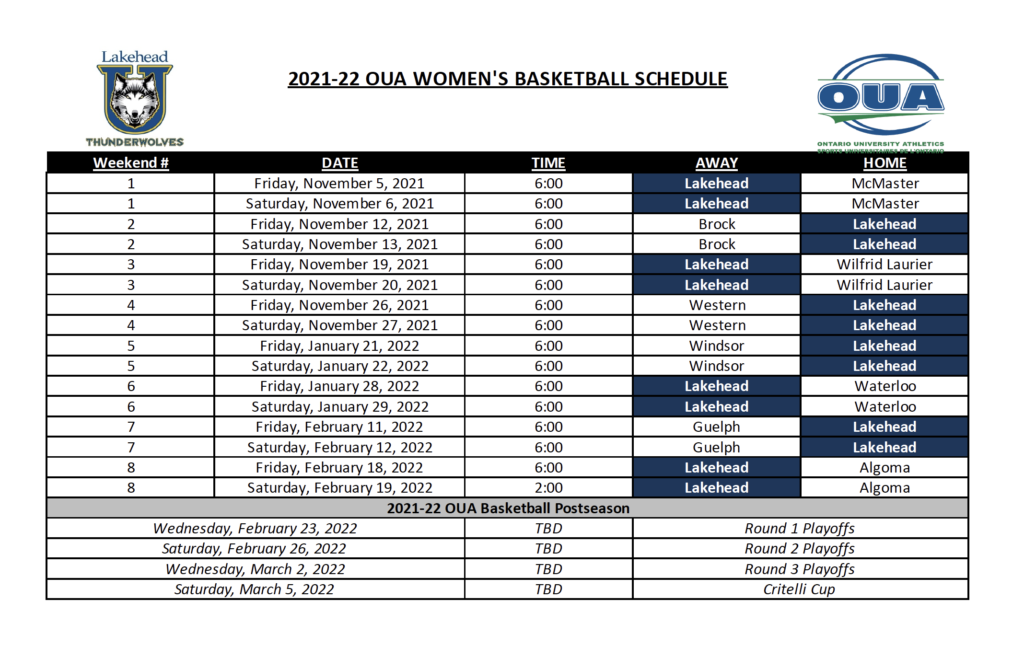 Women's Basketball Schedule